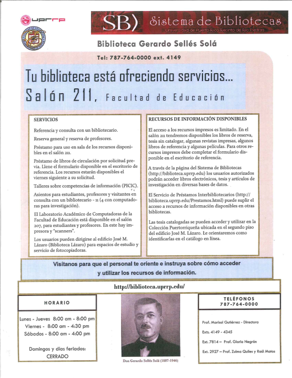 Servicios Biblioteca Educación