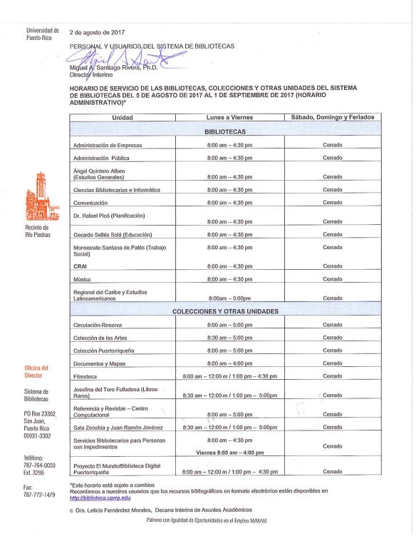 Horario Sistema de Bibliotecas (5 agosto al 1 sept)