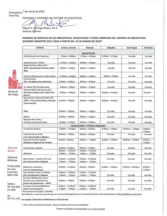 Horario de Servicio SB Segundo Sem 2017-2018