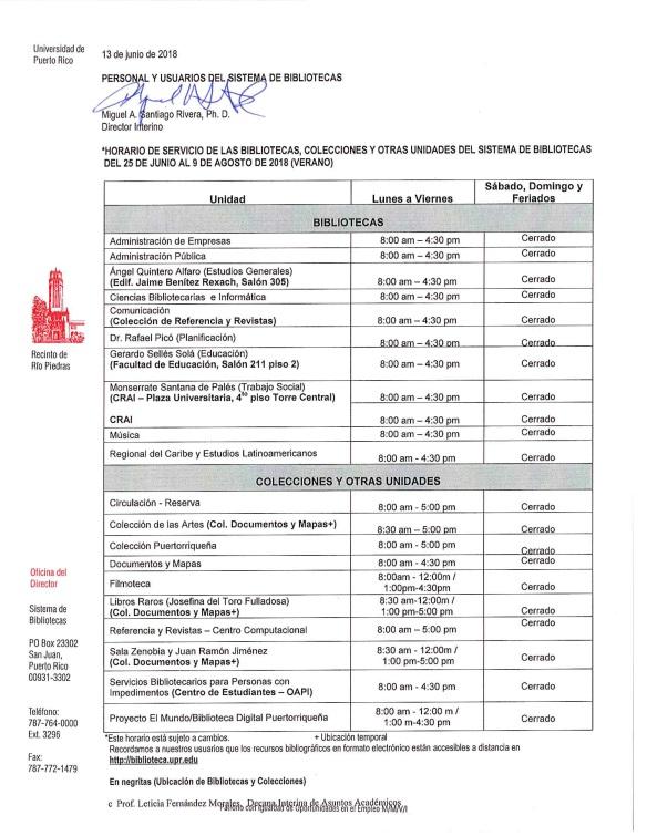 Horario Sistema de Bibliotecas del 25 de junio al 9 de agosto de 2018