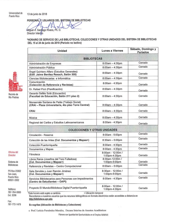 Horario Sistema de Bibliotecas del 15 al 24 junio de 2018