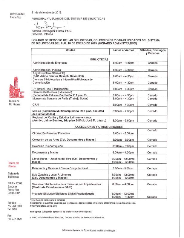 Horarios del Sistema de Biblliotecas del 8 al 18 de enero 2019