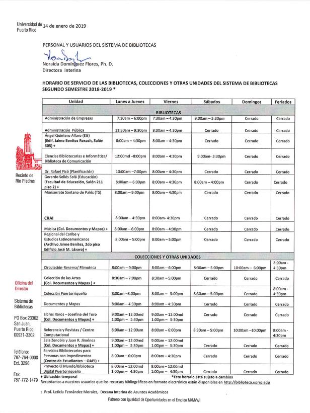 horario servicio sb segundo semestre 2018-2019