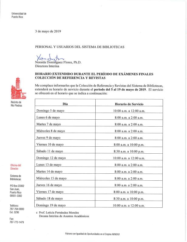 Horario Extendido 5 al 19 de mayo de 2019
