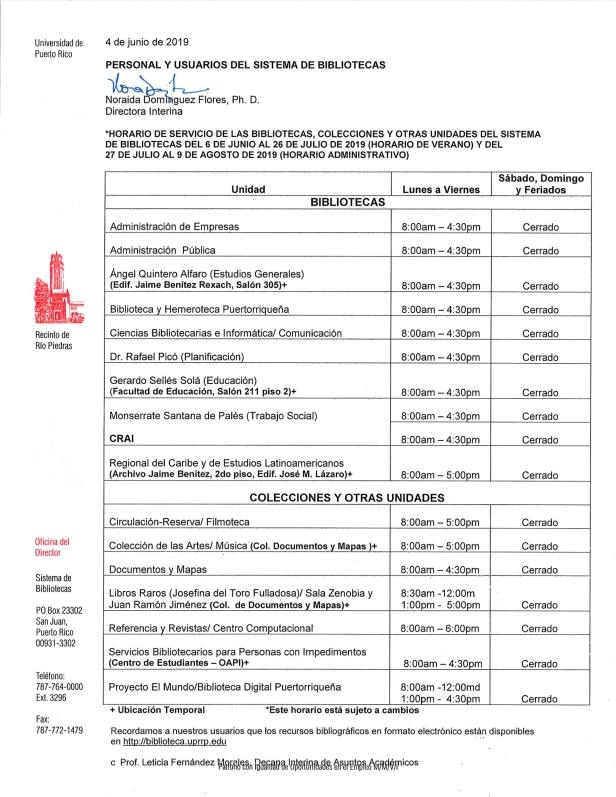 Horario servicio SB 6 jun al 26 jul 19 y 27 jul al 9 ago 19