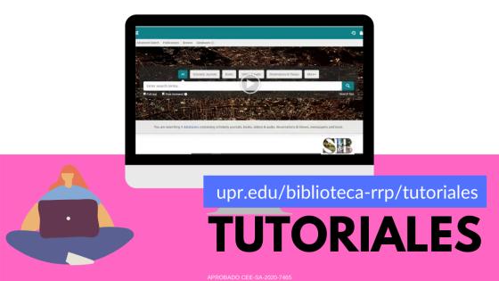 Imagen que ilustra ubicación de tutoriales en la página del Sistema de Bibliotecas