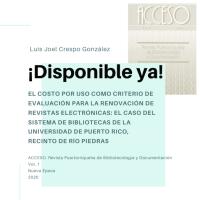 Felicitaciones al Prof. Luis Joel Crespo González por su reciente publicación en Acceso