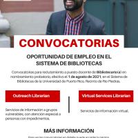 Oportunidad de empleo en el Sistema de Bibliotecas